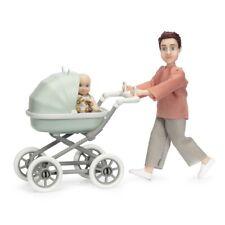 Lundby 60.8083 - DOLLHOUSE DOLLS WITH BABY AND PRAM - Vater Kinderwagen 1:18