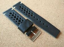 New Geckota Black Genuine Leather 24mm Vintage Rally Watch Strap Great HQ.