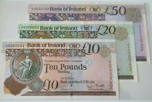 EARLY BANK OF IRELAND MATCHETT 2013 £50/£20/£10 SAME NO SET A000042 UNCIRCULTED