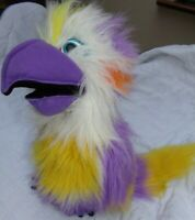 THE PUPPET COMPANY PARROT HAND PUPPET purple & yellow with squeaker