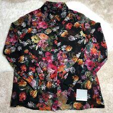 Focus 2000 Women's Floral Multicolor Long Sleeve Blouse Midnight Color Size M
