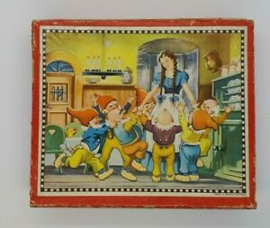 Vintage Fairytales Wooden Cube Blocks Puzzle Jigsaw Disney Theme 1960s