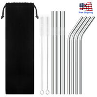 """10.5""""Reusable Stainless Steel Drinking Straw Metal Fits 30Oz Yeti Rtic Tumbler"""