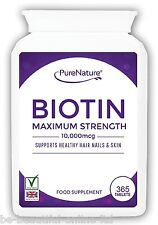 365 Pure Biotin Max Strength 10,000mcg Healthy Hair Skin Nails Vegetarian Tabs