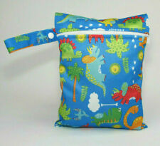 Small Wet Bag for Nappies, Breast Pads, Wipes, Cloth Pads - Dinosaurs