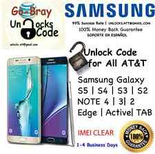 Unlock Code ALL Samsung Galaxy S7 S6 S5 S4 S3 NOTE 5 4 3 Edge Active AT&T CLEAN