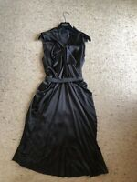 Stunning! LANVIN Black Weaved Silk Drape Exposed Zips Dress, BNWOT, SZ 40 ( M-L)