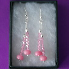 Beautiful Earrings With Pink Morganite Gems 5.5 Gr.5 Cm.Long + 925 Silver Hooks