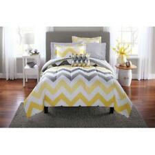 Yellow Grey Chevron Comforter Set Bed in a Bag 8-Piece Bedding Full Queen King