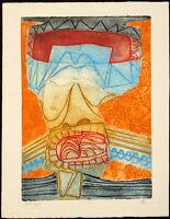 """Le cri"", um 1968. Grosse Aquatinta Gérard FITREMANN (*1946 F), handsigniert"