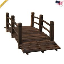 5ft Wooden Garden Bridge Arc Stained Finish Walkway With Railings Stained Wood