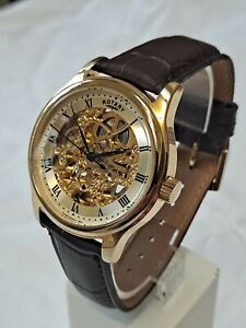 Rotary GS02519/09 men's automatic skeleton watch with leather strap.