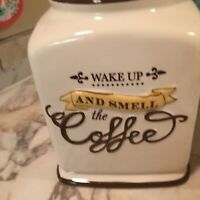 Coffee Canister Grasslands Road 10 Inch Tall One Chip Lid With Rubber Seal