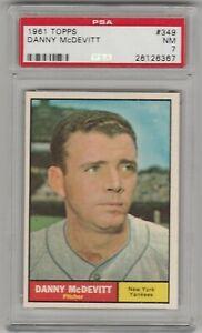 DANNY McDEVITT 1961 TOPPS BASEBALL CARD NEW YORK YANKEES PITCHER WS CHAMPS PSA 7