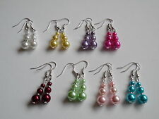 Glass Faux Pearl Drop Dangle Earrings Hook or Clip on Wedding Bridesmaid Bridal