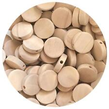 20x Natural Flat Wood Disc beads 15mm unfinished raw baby teething jewellery DIY