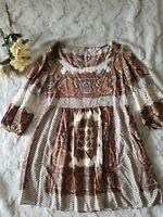 Umgee USA Size Medium Boho Hippie Gypsy Floral Crochet Ribbon Trim Tunic Top