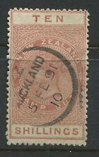 New Zealand 1882 Postal fiscal 10/ red brown CDS used