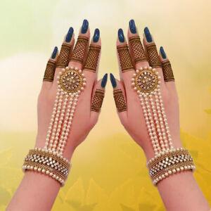 Indian Pakistani Bollywood Gold Bridal Hand Piece Panja Adjustable Ring Bracelet