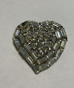 Vintage Silver Tone Rhinestone Heart Brooch