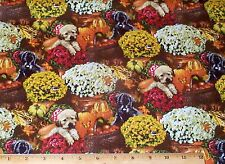 Dogs Autumn Flowers Fat Quarter Fabric 100% Cotton Puppy Mums Quilt Sew