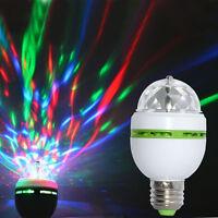 3W E27/B22 RGB Crystal Ball Auto Rotating LED Stage Light Bulb Disco Party Lamp