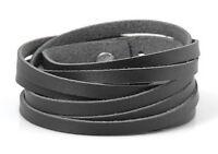 WICKELARMBAND Leder Herren gewickelt Armband Lederarmband schwarz wrapped | NEU