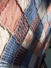 Queen Size Frontier Primitive Rag Quilt Prim Country Star Blanket Handmade in NJ