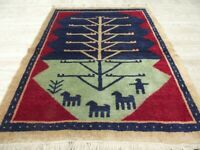 Pictorial Vintage Turkish Rug 3x4 ft Hand-Knotted Authentic Anatolian Wool Kilim