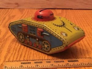 PREOWNED VINTAGE ESTATE TOY TIN TANK BANK X675 MADE IN USA