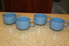 4 Midwinter Stoneware Mugs Bluestone Blue & Tan Cups