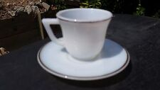 White With Gold Trim Platonite Child Cup And Saucer by Hazel Atlas