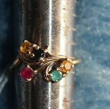 Tessler and Weiss Emerald Ruby Garnet Citrine 10k Floral Ring Size 5.5  2 g