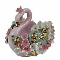Lefton China Pink White Floral Relief Swan Shape Dish #K8277 Vintage 1960s