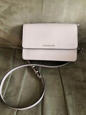 ** MICHAEL KORS DANIELA Pearl Grey Leather LG Crossbody Bag Msrp $198.00