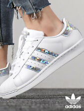 ADIDAS SUPERSTAR WHITE & SILVER IRIDESCENT F33889 BRAND NEW SIZES 5.5, 5, 4.5, 4