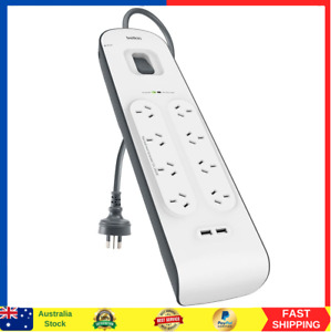 Belkin 8 Way Outlet Surge Protector 2M Power Board 2.4A w 2 USB Ports Charger