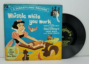 Snow White Whistle While You Work 78rpm Disneyland Little Gem Record LG741 1962