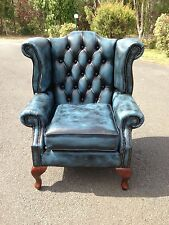 Queen Anne Leather Scroll CEO Chesterfield Wing Chair