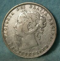 1873 Newfoundland Canada Silver 50 Cents KM# 6 Better Grade Coin #4428