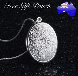 Oval Flower Floral Photo Memory Locket 925 Sterling Silver Chain Necklace Gift