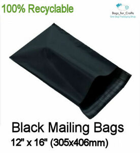 """50 Recyclable Plastic Mailing Bags BLACK 12 x 16"""" Poly Postal Packing 305x405mm"""