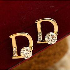 Fashion Style D Type Women Elegant Crystal Rhinestone Ear Stud Earring 1pair