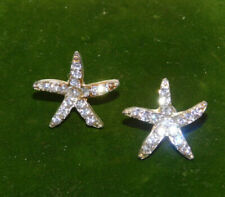 Nautical Sea Star Starfish Shell design Rhinestone Stud Pierced Earrings 7a 66