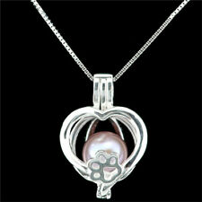 """K1158 S925 Sterling Silver Love Heart Pearl Cage Add Pearl Diffuser Necklace 16"""""""