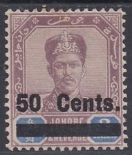 JOHORE 1903 SULTAN 50C OVERPRINT
