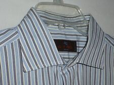 Mint$450 17x35 Etro Lrg Fitted Mens White Blue Striped Shirt ITALY 43 Nordstrom