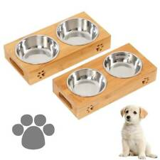Dog Food large Feeding Stand Station Stainless Pet Double Bowls Stand Cat Wooden