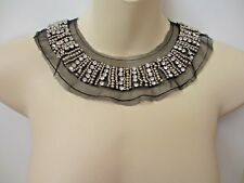 Black Net Scoop Neck Collar Applique with Beads and Rhinestones