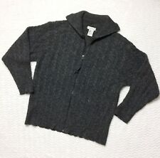 Mac & Jac High Neck Zip Cardigan Sweater Gray Wool Cable Knit Cozy Size XL